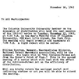 Announcements, 1962-11-16. ...