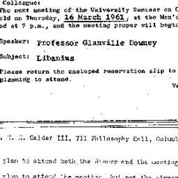 Announcements, 1961-03-16. ...