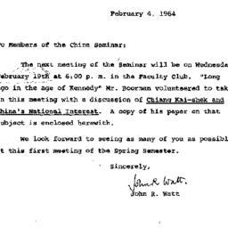 Announcements, 1964-02-04. ...