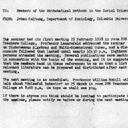 Announcements, 1958-03-05. ...