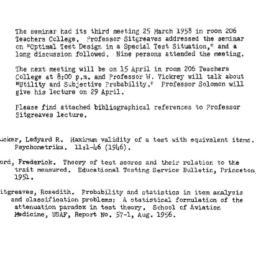 Announcements, 1958-04-09. ...