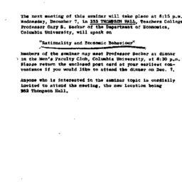 Announcements, 1960-12-17. ...