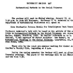 Announcements, 1962-01-05. ...