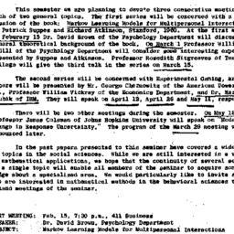 Announcements, 1962-02-01. ...