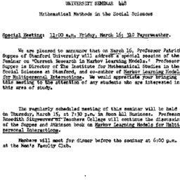 Announcements, 1962-03-02. ...