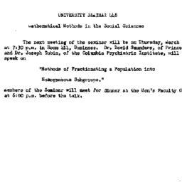 Announcements, 1962-03-19. ...