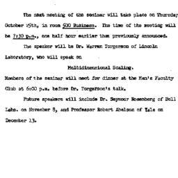 Announcements, 1962-10-15. ...