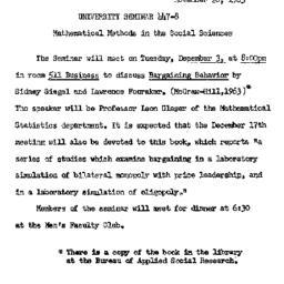 Announcements, 1963-11-26. ...
