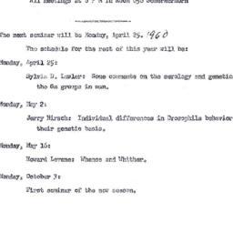 Announcements, 1960-04-25. ...