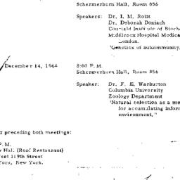 Announcements, 1964-11-11. ...