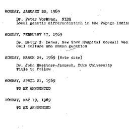 Announcements, 1969-01-20. ...