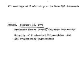 Announcements, 1970-02-16. ...