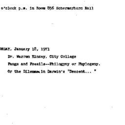 Announcements, 1971-01-18. ...