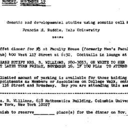 Announcements, 1973-11-19. ...