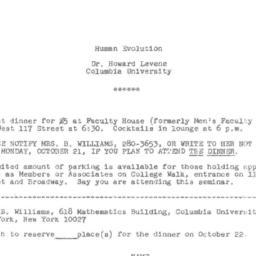 Announcements, 1974-10-22. ...