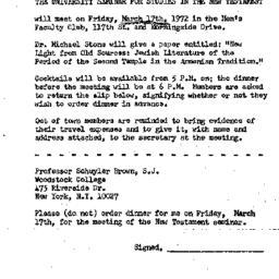 Announcements, 1972-03-17. ...