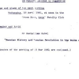 Announcements, 1960-04-12. ...