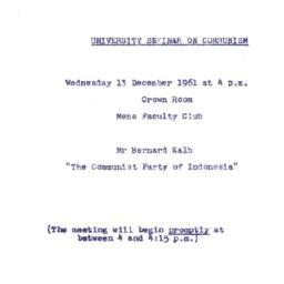 Announcements, 1961-12-13. ...