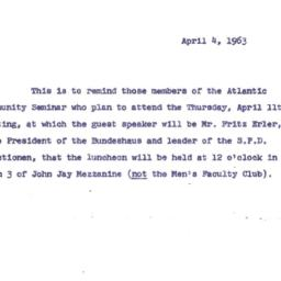 Announcements, 1963-04-04. ...