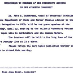 Announcements, 1963-04-15. ...