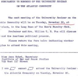 Announcements, 1962-11-07. ...