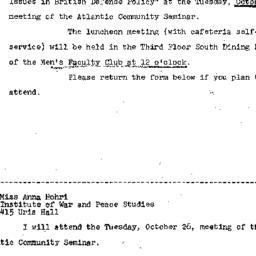 Announcements, 1965-10-15. ...