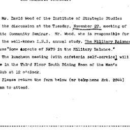 Announcements, 1966-11-16. ...