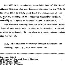 Announcements, 1968-04-23. ...