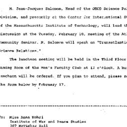 Announcements, 1969-02-07. ...