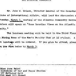 Announcements, 1969-02-19. ...