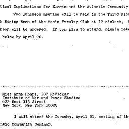 Announcements, 1970-04-09. ...
