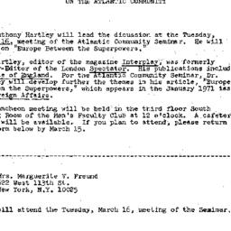 Announcements, 1971-03-05. ...