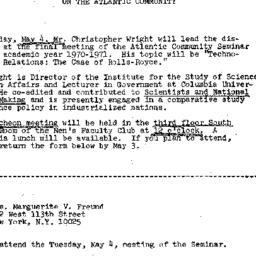 Announcements, 1971-04-20. ...