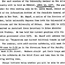 Announcements, 1976-04-12. ...
