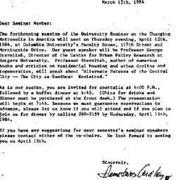 Announcements, 1984-03-12. ...
