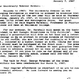 Announcements, 1987-01-07. ...