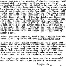 Announcements, 1987-09-15. ...