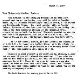 Announcements, 1989-03-08. ...
