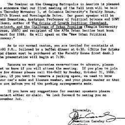 Announcements, 1988-10-07. ...