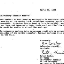 Announcements, 1991-04-17. ...