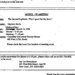 Announcements, 1998-03-03. ...