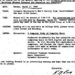 Correspondence, 1969-03-07....