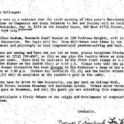 Announcements, 1974-04-30. ...