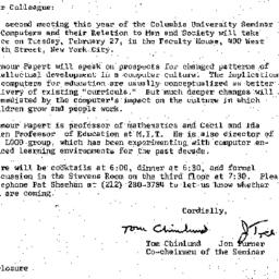 Announcements, 1979-02-09. ...