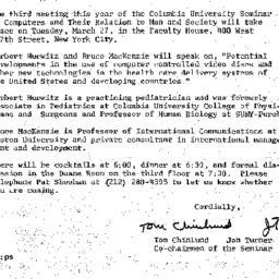 Announcements, 1979-03-13. ...