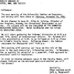 Announcements, 1982-11-02. ...