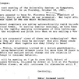 Announcements, 1983-10-11. ...
