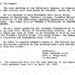 Announcements, 1984-03-24. ...