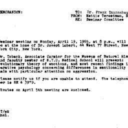 Announcements, 1965-04-10. ...