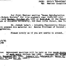 Announcements, 1965-10-05. ...